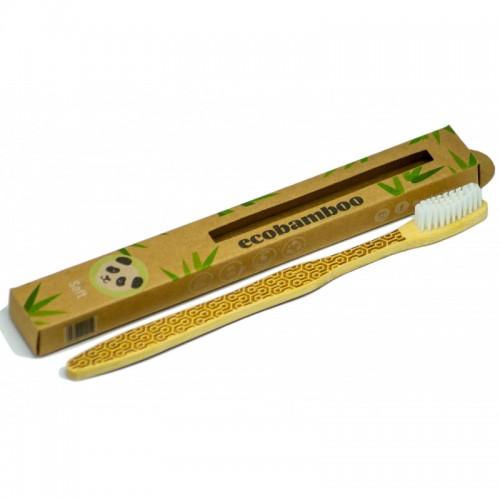 Vegan Bamboo Toothbrush soft bristles, white | ecobamboo