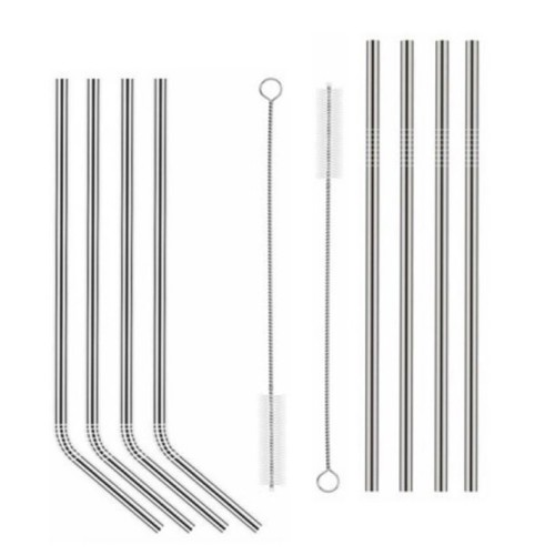 4 x Stainless Steel Drinking Straws incl. Cleaning Brush | Dora's