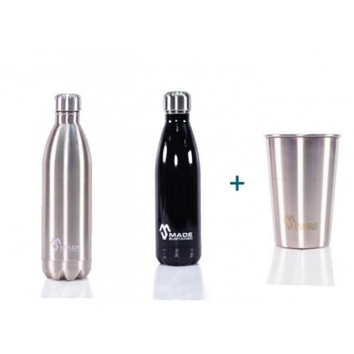 Edelstahl-Flasche und Becher
