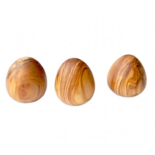 EGGS - 3 Decoration Eggs made of Olive Wood | D.O.M.