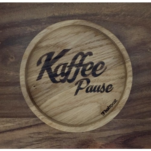 Kaffeepause (coffee break) Coaster of solid oak wood | holzpost