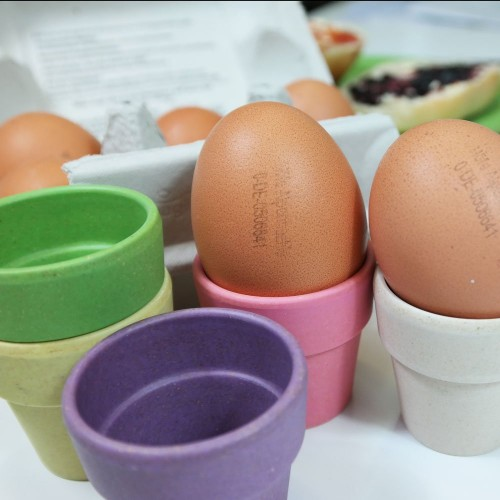 Eggcups and Egg Spoons of bioplastic 6-part | zuperzozial