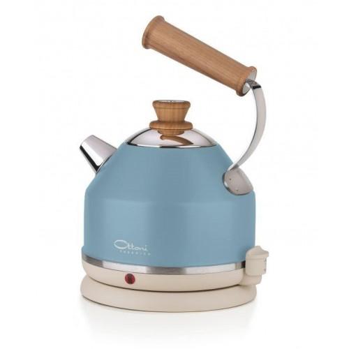 Pastel-blue electric kettle LIGNUM LUNGOMARE | Ottoni Fabbrica