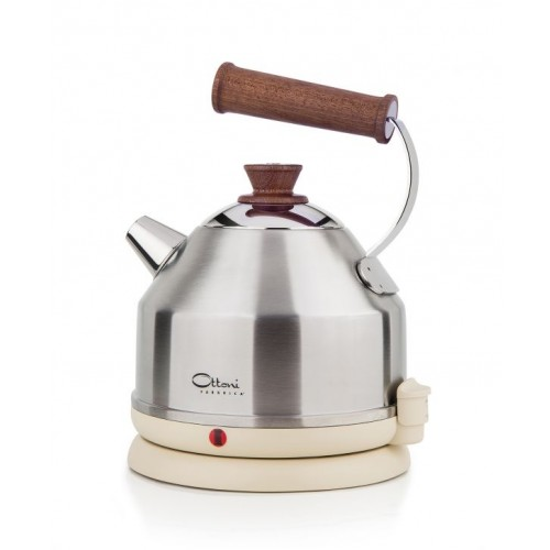 Electric kettle LIGNUM SATINATO cream/silver | Ottoni Fabbrica