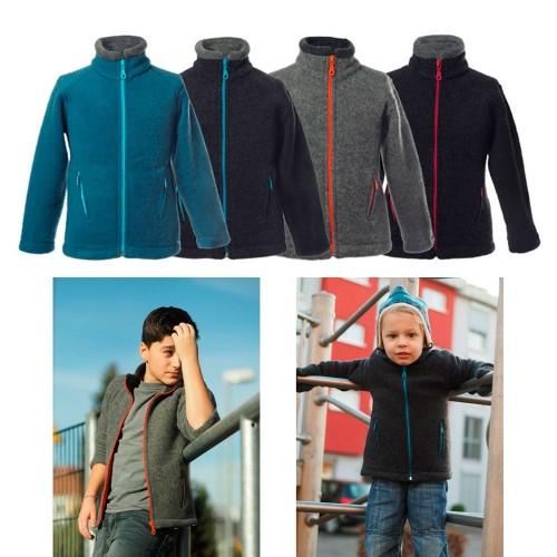 Kids Fleece Jacket Colori made of Organic Merino Wool | Reiff