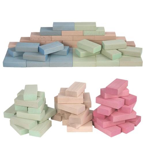 Beech Wood Building Blocks by Froebel, Pastel Colours