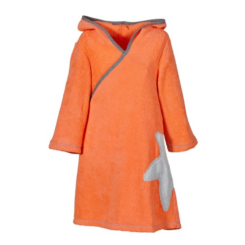 Organic Terrycloth Wrap Dress Girls Coral | early fish