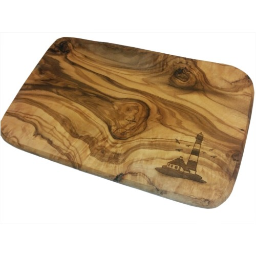 Cutting Board for Breakfast, Olive Wood, Engraving Lighthouse | D.O.M.