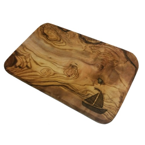 Cutting Board for Breakfast, Olive Wood, Engraving Sailing Boat | D.O.M.