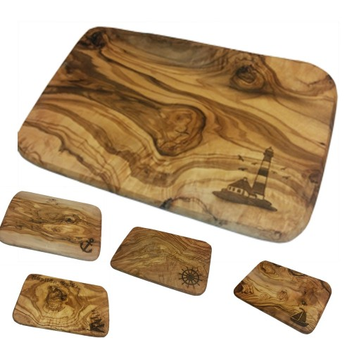 Cutting Board for Breakfast, Olive Wood, various maritime engravings | D.O.M.