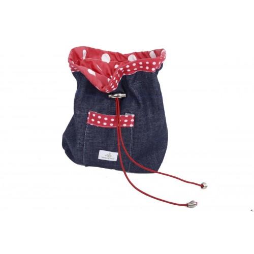 Leckerlibeutel aus Bio Jeans mit Tasche