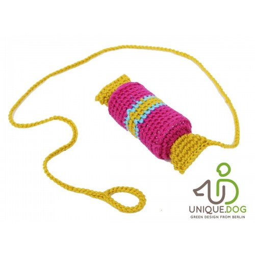 Crocheted Cat Toy pink CANDY with Bell & Cord | Unique Dog