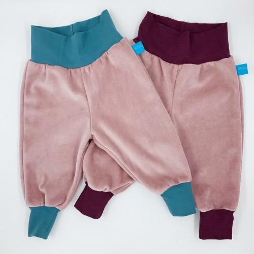 Pull on Baby Trousers Organic Cotton Plush Old Pink | bingabonga