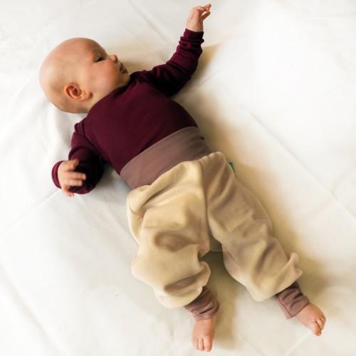 Comfortable Baby Trousers Organic Plush Ecru/Old Pink | bingabonga