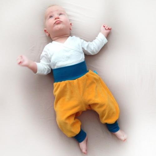 Colourful Organic Plush Baby Trousers Yellow/Petrol | bingabonga