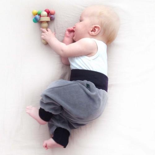 Baby Active Trousers Organic Plush Grey/Black | bingabonga