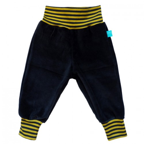 Organic Plush Baby Trousers navy/navy-kiwi striped | bingabonga