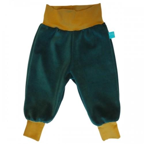 Pull on Baby Trousers Organic Cotton Plush Emerald/Moss | bingabonga
