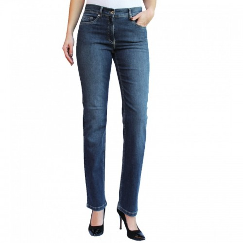 bloomers straight cut Women's Jeans, Blue Organic Cotton
