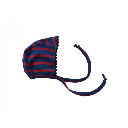 Organic Fine Rib Baby Bonnet with rickrack, red-blue | Ulalue