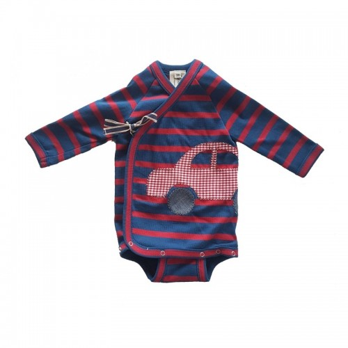 Organic fine rib baby wrap-over bodysuit, red-blue with car | Ulalue