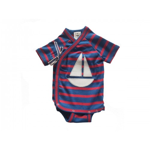 Long Sleeve organic fine rib baby wrap-over bodysuit, with sailing boat | Ulalue