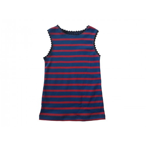 Red-blue striped organic fine rib vest & kids tank top | Ulalue