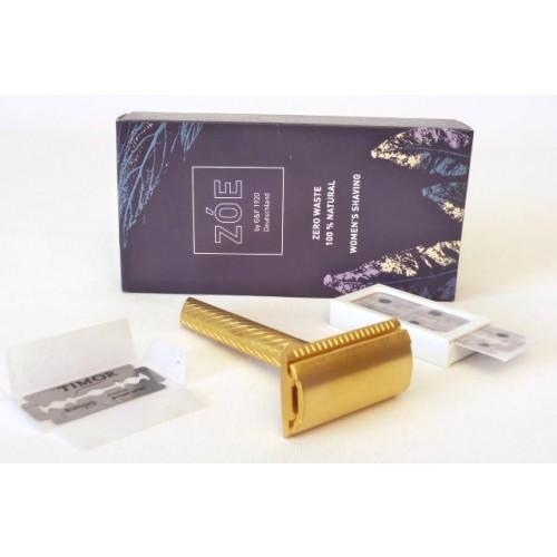 Reusable ZÓE Women's Safety Razor Gold + 10 Razor Blades » G&F