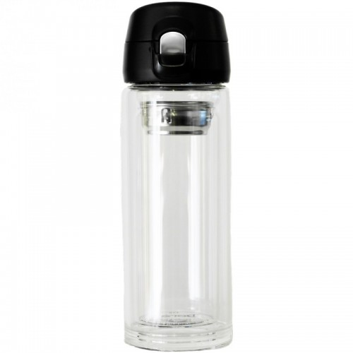 Thermos cup of double-walled glass with tea strainer & one hand lid | Dora's