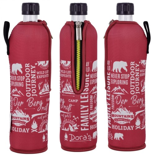 Outdoor Journey Dora's reusable glass bottle in neoprene sleeve