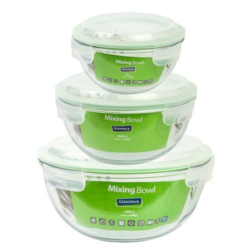 Glasslock Mixing Bowl & Salad Bowl with Lid, microwaveable