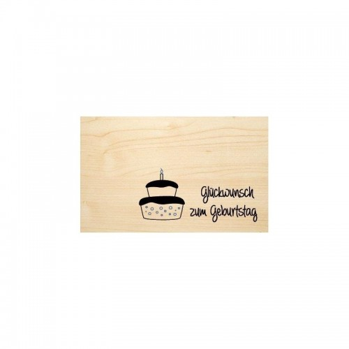 Congratulation for birthday in German - eco wooden postcard | Biodora