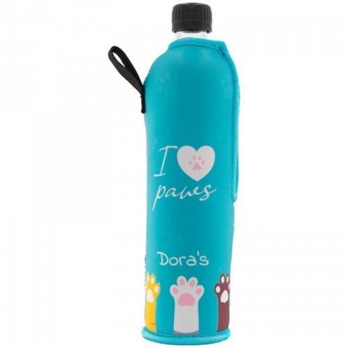Reusable glass bottle with »I love paws« neoprene sleeve | Dora's