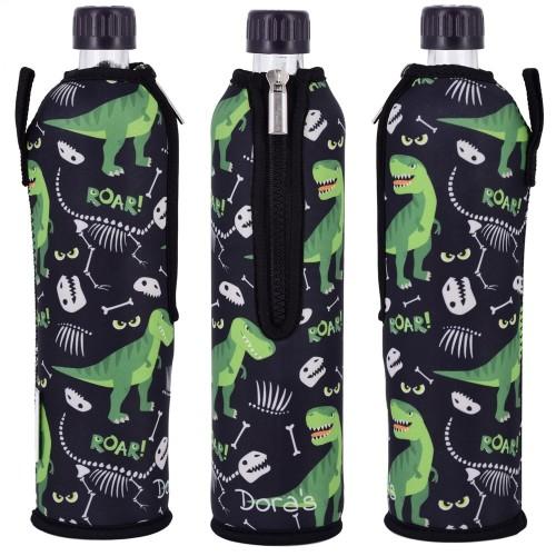 DINO reusable water bottle in neoprene sleeve   Dora's