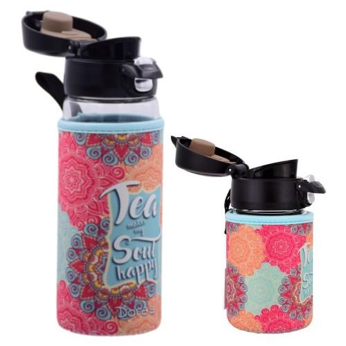 Dora's Takeaway Tea Thermo Glass Mug with one-hand lock