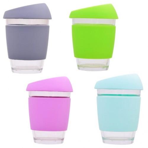 Colourful togo tumbler borosilicate glass, heat protection cuff | Dora's