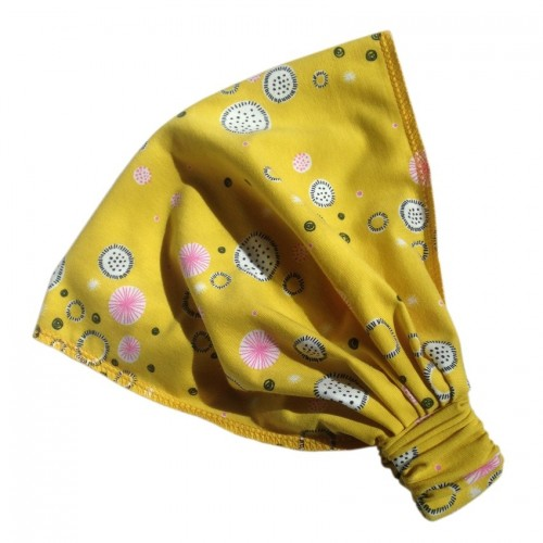 Hairband Eco Jersey Abstract Flowers Yellow | bingabonga