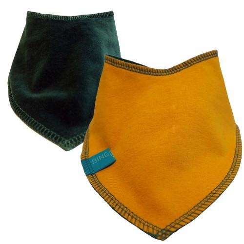 Reversible Baby Scarf yellow/emerald, eco cotton bandana bib | bingabonga