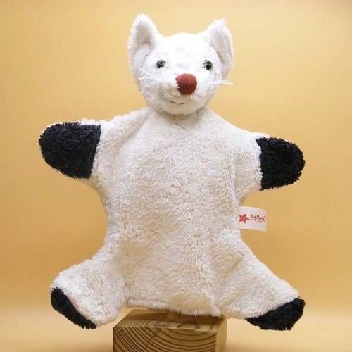 Vegan Hand Puppet Cat, white soft toy Kallisto