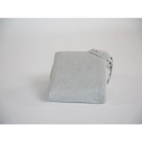 Spannbettlaken Jersey White Grey