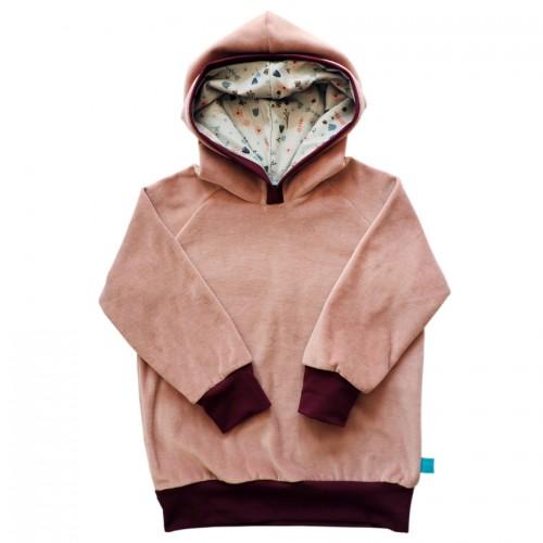 Girls Eco Hoodie old pink, lined hood FLOWERS | bingabonga