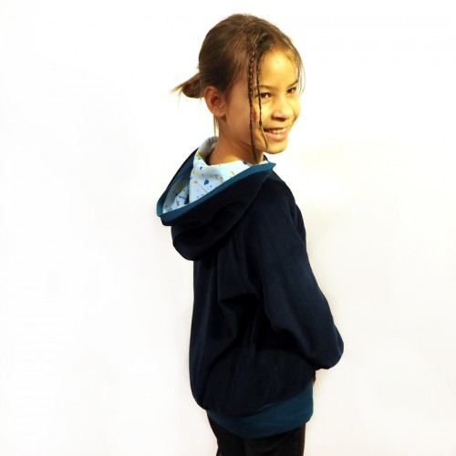 Navy Eco Plush Hoody lined hood SNIPPETS for children | bingabonga
