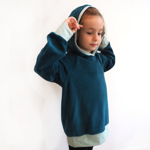 Kids Eco Hoodie teal, lined hood Space travel | bingabonga