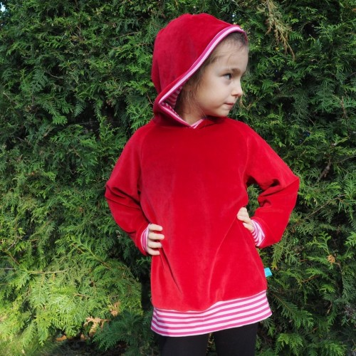 bingabonga Kids Sweatshirt Hoodie Red eco cotton plush