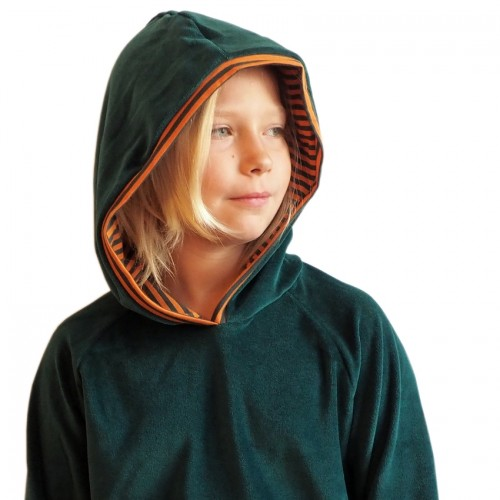 Emerald Eco Cotton Plush Hoody, striped lined hood | bingabonga