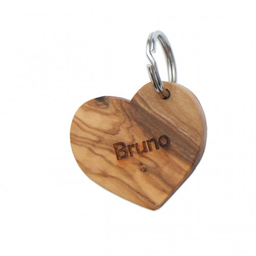 Custom Engraved Dog Tag Heart of Olive Wood | D.O.M.