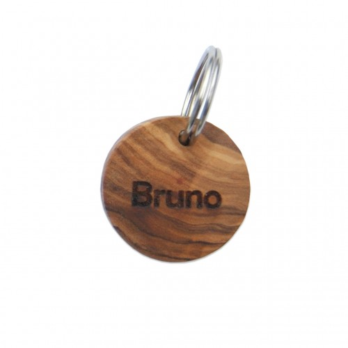 Olive wood ID Tag for small dogs & cats with engraving | D.O.M.