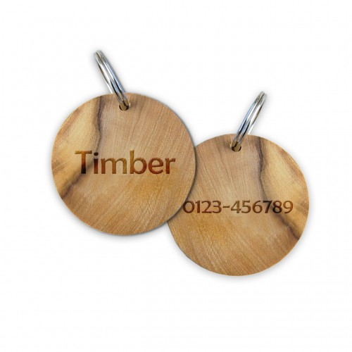 Round Dog Tag of Olive Wood with engraving » D.O.M.