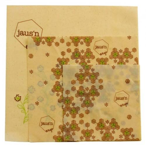 Organic Beeswax Wrap assorted Set Jaus'n Wrap