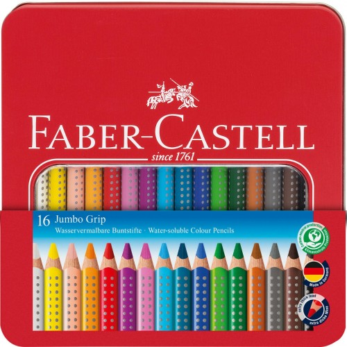 Faber-Castell Jumbo Grip Crayon 16 pcs. metall case